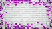 fronteira : Frame of purple boxes and free space. Abstract motion background. 3D render seamless loop animation 4k UHD 3840x2160