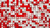 alívio : Wall of red and white cubes. Abstract motion background. 3D render seamless loop animation 4k UHD 3840x2160