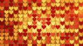 sevgililer : Red and gold hearts array. Abstract romantic concept. Seamless loop 3D render animation 4k UHD 3840x2160