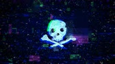 pirátství : Skull shape with noise and glitching. Internet piracy and online security concept. Seamless loop animation Dostupné videozáznamy