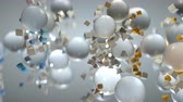 chipsy : Chaotic stream of flying geometric shapes. Seamless loop 3D render animation with shallow depth of field Wideo