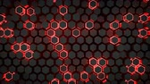 petek : Wall of glowing red hexagons. Futuristic technology concept. Seamless loop 3D render animation 4k UHD 3840x2160 Stok Video