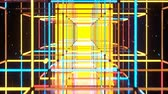 паз : Flight through corridor with shining neon disco style cubes. Discotheque party design. Seamless loop 3D render animation