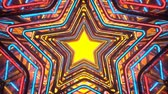 паз : Endless portal with colorful glowing disco style stars. Seamless loop 3D render animation