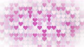 sevgililer günü : Pink hearts array. Abstract romantic concept. Seamless loop 3D render animation 4k UHD 3840x2160 Stok Video