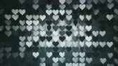 san valentin corazones : Array of dark gray heart shapes. Abstract romantic motion background. Seamless loop 3D render animation 4k UHD 3840x2160 Archivo de Video