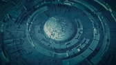 공학 : Space base design. Futuristic technology construction. Seamless loop 3D render animation with DOF
