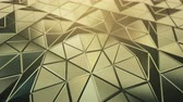 ハイテック : Pyramidal yellow surface. Futuristic polygonal shape. Seamless loop 3D render animation 4k UHD 3840x2160