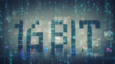 mozaika : Pixelated text 16 bit and computer data stream. Information technology concept. Retro videogame or cyberpunk design. Seamless loop 3D render animation