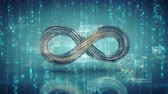 örök : Infinity symbol and digital data are glitching. Futuristic technology concept. Seamless loop 3D render animation