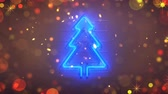 振る : Neon symbol of christmas tree and glitter. Handheld camera shake. Seamless loop 3D render animation