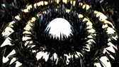 fantasztikus : Glowing rings and glossy black peaks. Seamless loop 3D render animation with DOF Stock mozgókép