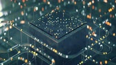 공학 : Futuristic technology abstraction with specular tubes and glowing lights. Seamless loop 3D render animation with DOF