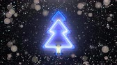 Christmas tree neon sign and glitter. Winter holidays design. Seamless loop 3D render animation Stockvideo
