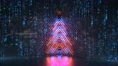 Neon christmas tree with digital glitch effect. Futuristic cyberpunk design. Seamless loop 3D render animation with DOF