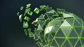 Icosahedron ball shape with glowing green lines. Abstract futuristic technology or science fiction concept. Seamless loop 3D render animation 4k UHD 3840x2160 Stockvideo