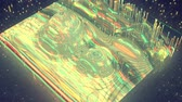 frekvence : Flickering wave form with glitch effect. Big data analysis concept. Seamless loop 3D render animation