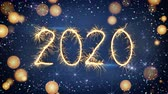 Sparkler text new year 2020 greeting. The last 10 seconds are loopable. 3D render animation Stockvideo