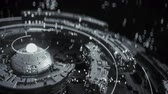 공학 : Black and white rotating mech construction. Futuristic technologies design. Seamless loop 3D render animation with DOF