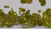 수익 : Gold coins are falling on a surface. 3D render animation with depth of field