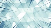 üçgen şeklinde : Light blue surface with triangular polygons. Abstract geometric background. Seamless loop 3D render animation