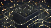 공학 : Cube and tubes with lights. Futuristic technology design. Seamless loop 3D render animation with DOF