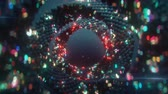 可視化 : Rings of glitching spheres. Abstract sci-fi futuristic visualization. Seamless loop 3D render animation