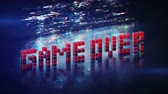 arcada : Game over phrase in pixel art 8 bit retro style with glitch effect. Seamless loop 3D render animation