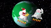 Christmas in the future when Santa Claus flies into space Stok Video
