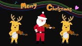Christmas concert of Santa Claus and reindeer. Stok Video