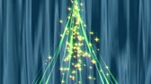 celebration : Blue silk background. Luminous stars pouring from the top of the symbolic Christmas tree