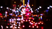 city lights : USA. New York City. Night. Traffic of the cars, taxis and buses at E42nd Street