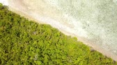 коса : Indonesia Sunny day over the ocean. Flying over a small tropical island overgrown with jungle. Aerial view vertically down Стоковые видеозаписи