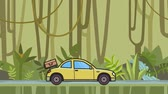 Animated coupe car with luggage on the rear hood riding through rainforest. Moving hatchback on jungle and river background. Flat animation Стоковые видеозаписи