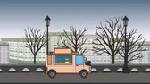 Animated food truck riding through autumn city. Moving vehicle on landscape background. Flat animation