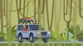 Animated car with luggage on the roof and smiling guy behind the wheel riding through the rainforest. Moving vehicle on jungle forest background and vines hanging on foreground. Flat animation. Стоковые видеозаписи