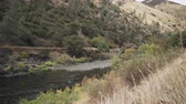 eastern sierra : gimbal shot of landscape details on merced river