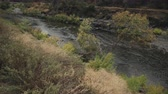 eastern sierra : gimbal pan shot of merced river landscape Stock Footage