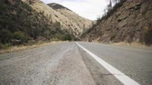eastern sierra : gimbal up down shot of road near merced river