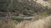 eastern sierra : gimbal back walk shot of landscape on merced river Stock Footage
