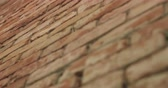 кирпичная кладка : Slow motion handheld closeup pan of filled seams on brick wall Стоковые видеозаписи