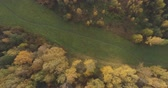 непосредственно над : Aerial top view backward shot over field and autumn forest in the morning