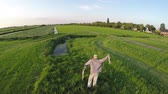 decoy : Aerial of hay scarecrow-man mannequin in shape of human Usually dressed in old clothes Placed in open fields to discourage birds from disturbing and feeding on recently cast seed and growing crops 4k