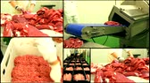 preparations : raw meat butcher chop meat in factory ,multi screen