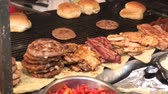cooking : BBQ grill burger festival Stock Footage