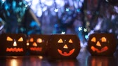 Halloween pumpkins snowlakes bokeh lights