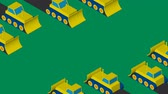 Bulldozers clearing the area. Flat isometric design. Stock mozgókép