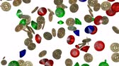 rubi : Rain of vintage gold coins. 3D render Stock Footage