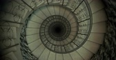 Endless old spiral staircase. Looped video. 3D render