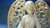 vasi : Ceramic Old Angel blue Background Stok Video
